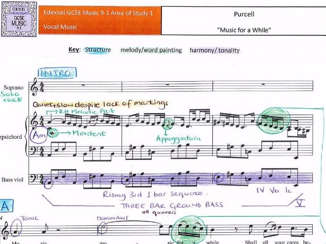 GCSE 9-1 Edexcel Music Purcell Music for a While FULL SCORE ANALYSIS