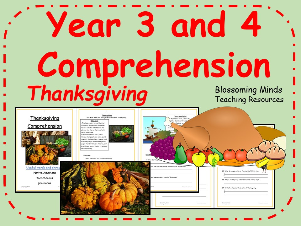 Year 3 and 4 non-fiction comprehension - Thanksgiving