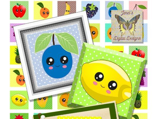Kawaii Fruits Collage Sheets, Square Images