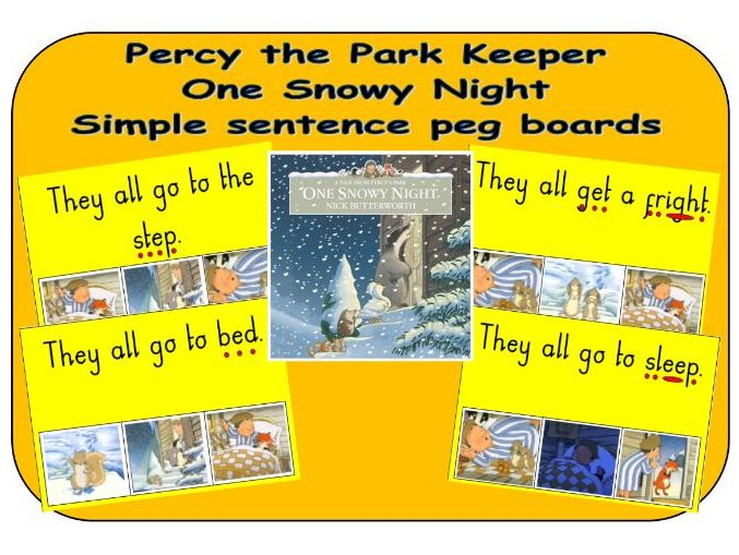 Percy the Park Keeper - One Snowy Night - Simple sentence peg boards