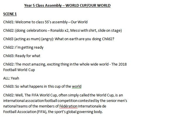 World Cup /Our World Assembly