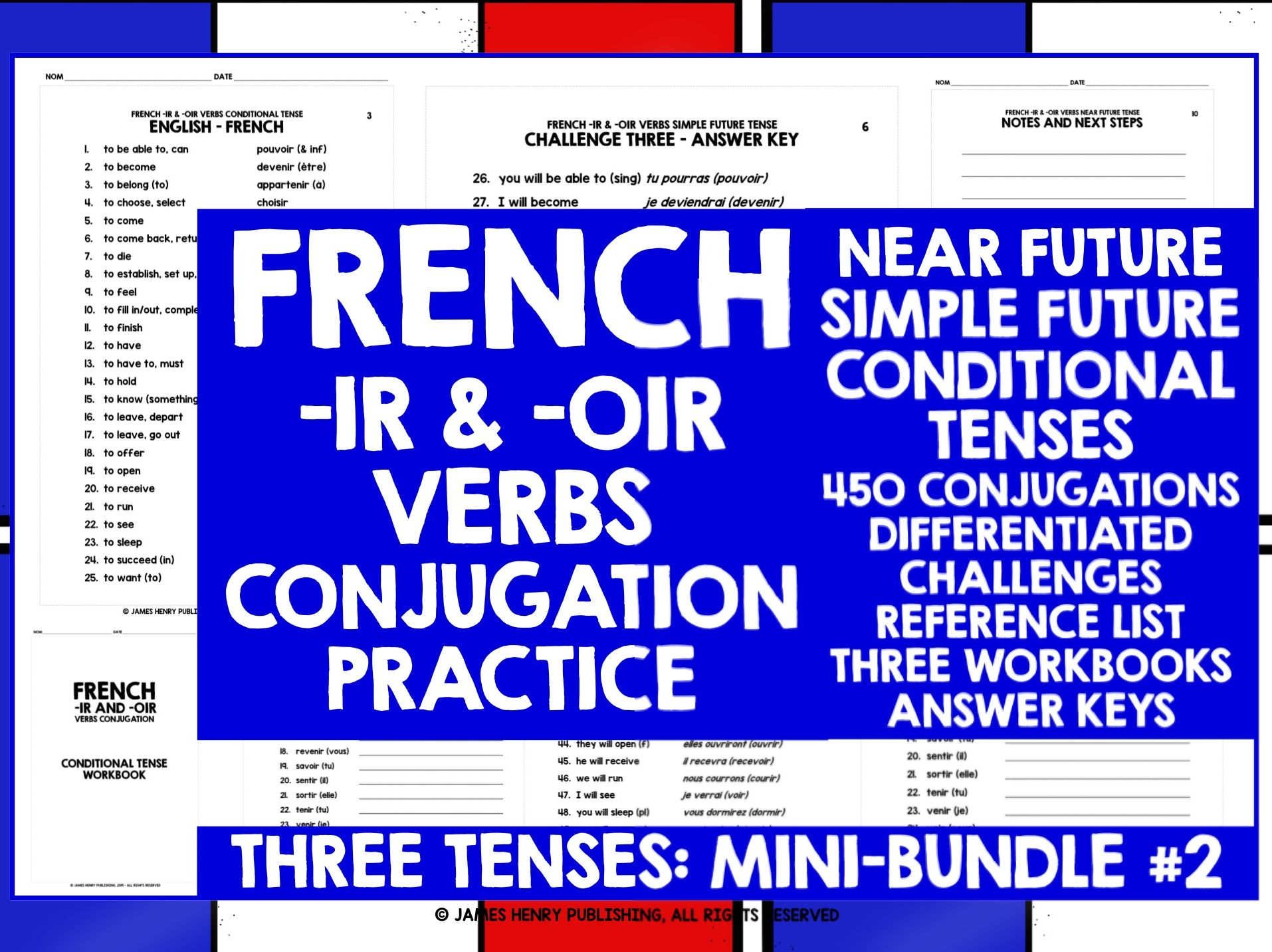 FRENCH -IR VERBS CONJUGATION MINI-BUNDLE #2