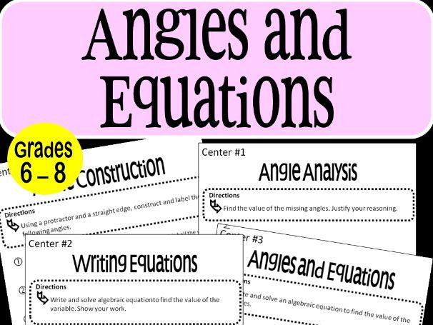 Angles and Equations Math Stations