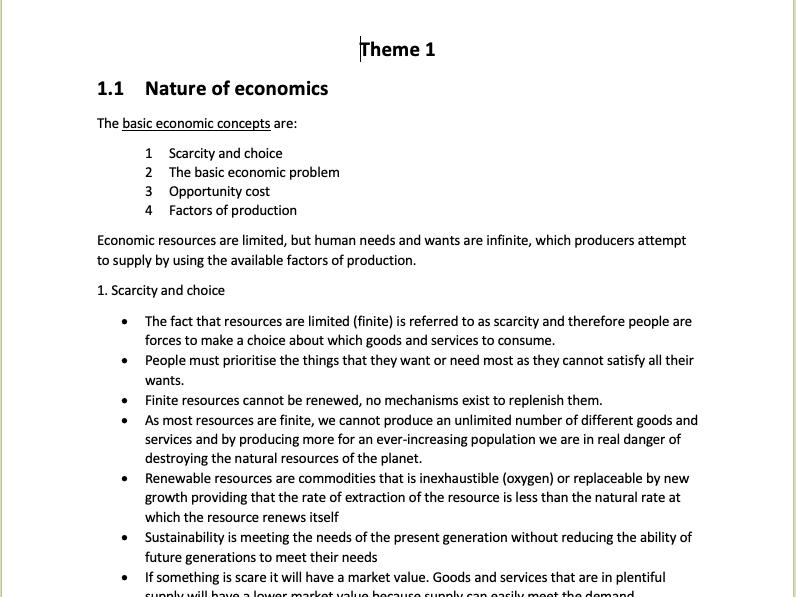 Theme 1 Economics A-Level Edexcel