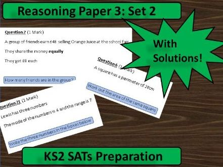 KS2 Maths SATs Paper 3 Reasoning (Set 2)