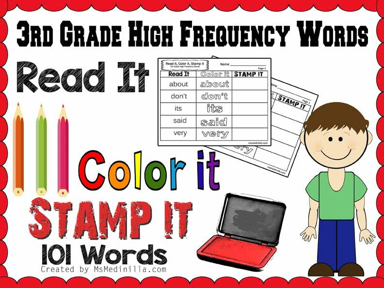 Third Grade Sight Words Practice