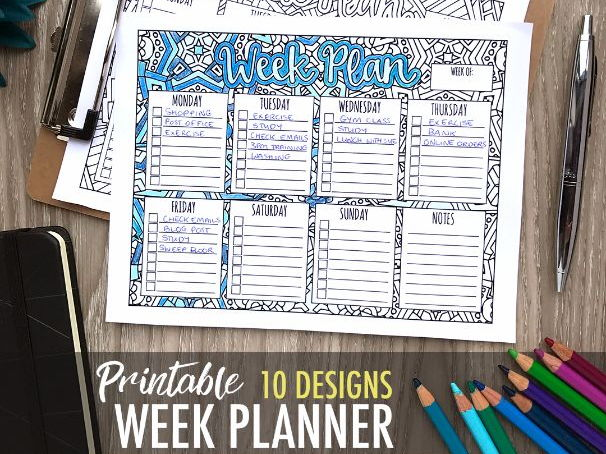 "Printable Week Planner with 10 designs to color | 8.5x11"" Printable PDF 