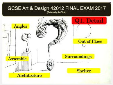 AQA Art and Design GCSE 2017 (42012) - Unit 2 EXAM Powerpoint/resources for ALL QUESTIONS