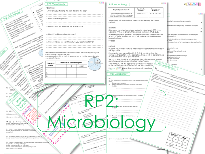 RP2 Microbiology/ Aseptic Technique Practical and Worksheets