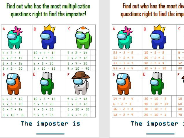 Year 2 -  Four operations among us maths activity.