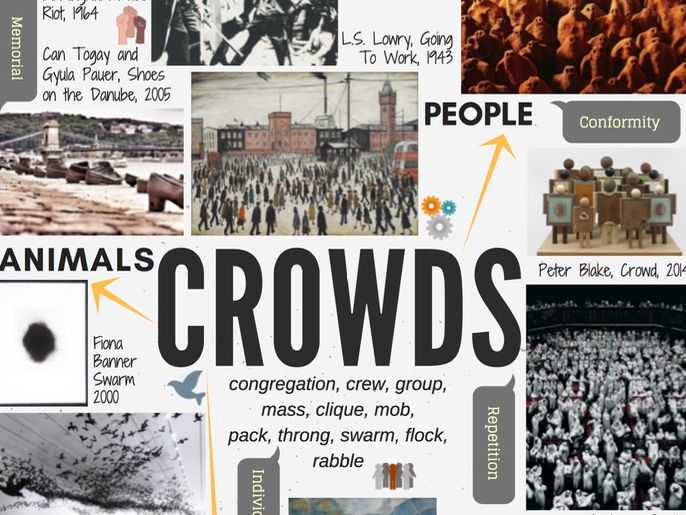 CROWDS - GCSE ART theme mind-map interactive with artist links