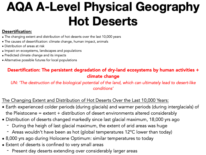 AQA A Level Geography: Hot Deserts - Desertification