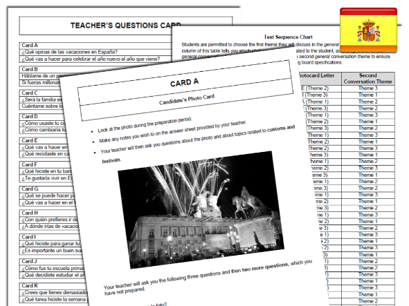 AQA Spanish GCSE Photocard 'mock exam' kit