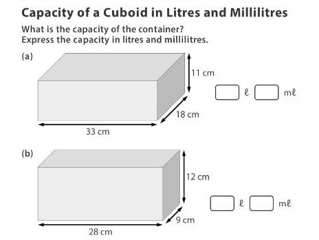 Capacity of a Cuboid in Litres and Millilitres