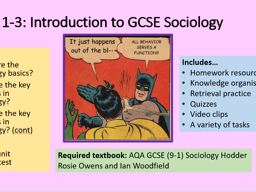 3 LESSONS Intro to GCSE Sociology