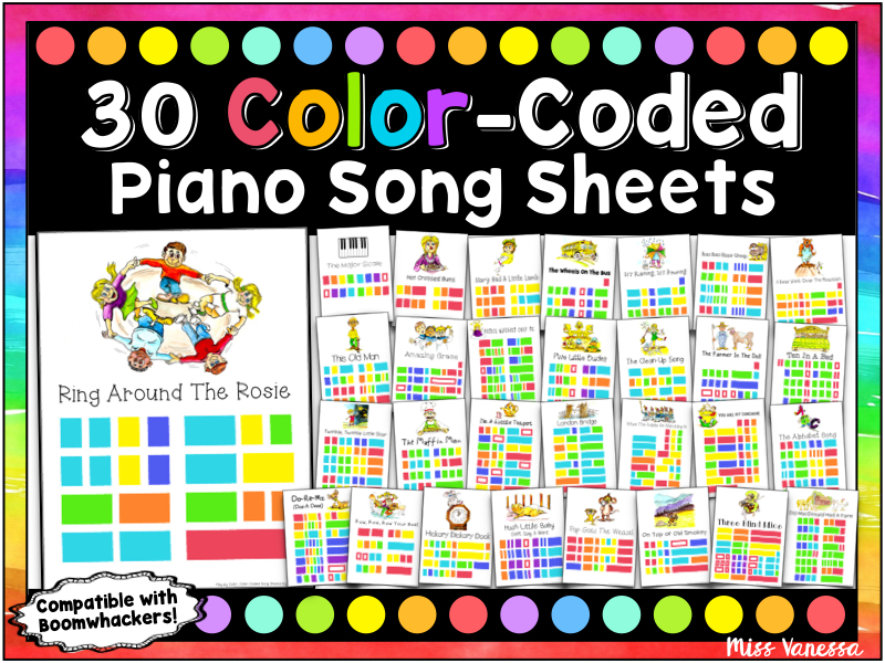 30 Color-Coded Easy-to-Play Songs for Boomwhackers or Piano!