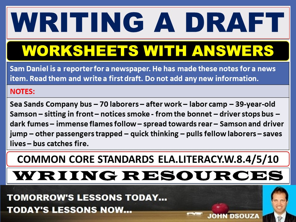 WRITING A DRAFT WORKSHEETS WITH ANSWERS