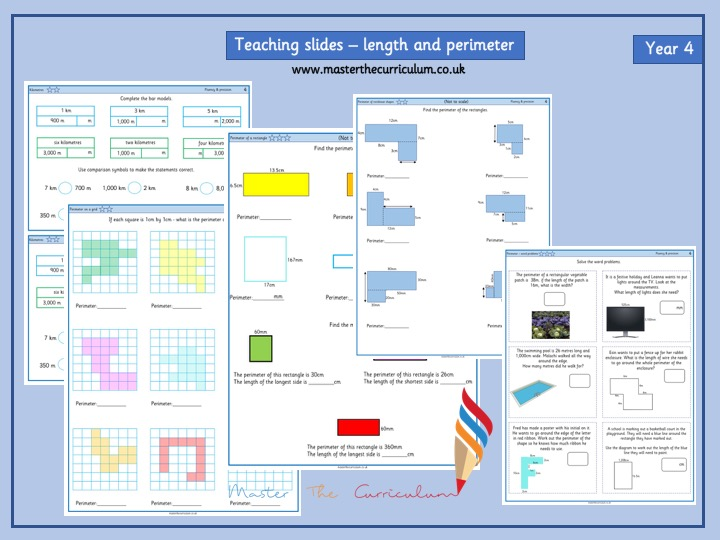 Year 4- Length and Perimeter Differentiated Sheets- Autumn 1 Block 3- White Rose Style