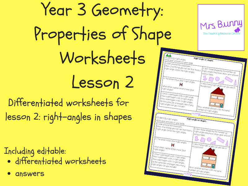 2. Geometry: right-angles in shapes worksheets (Y3)