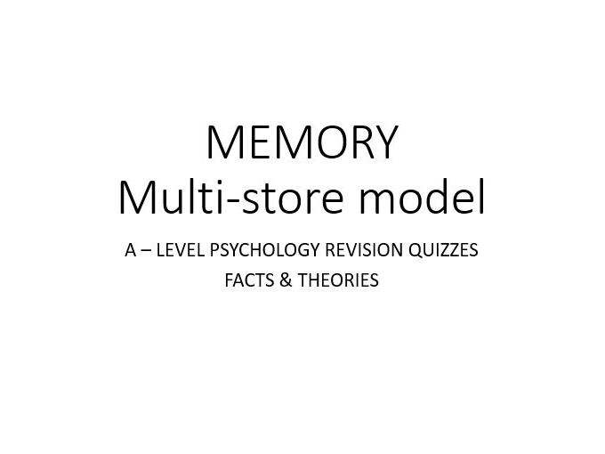 Psychology - Memory - Multi Store Model QUIZ (2/3)