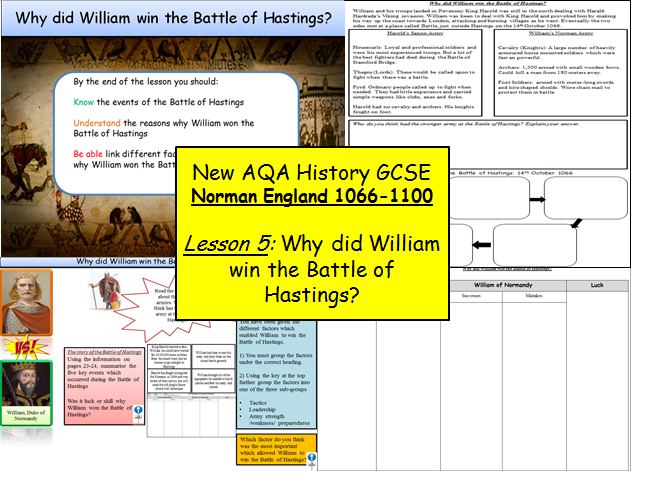 Norman England 1066-1100: Lesson 5 – Why did William win the Battle of Hastings?