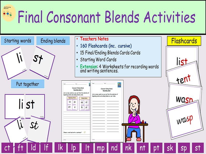 Phonics-Consonant Ending Blends/Cluster Activities Flash cards, Worksheets, Game, Teachers Notes