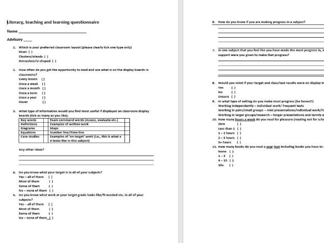 Pupil questionnaire - literacy, teaching and learning focus