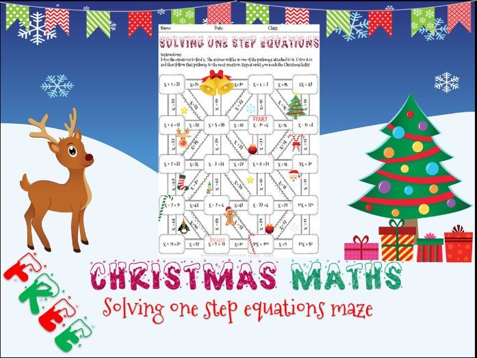 Christmas maths equations maze