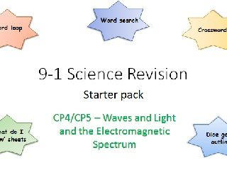 P4,5 Waves, Light and the EM Spectrum  Revision starter pack Science 9-1