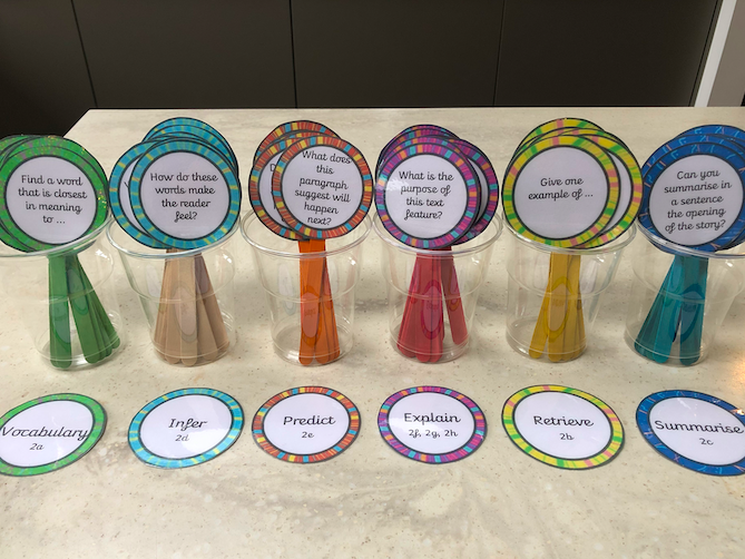 VIPERS KS1 KS2 reading prompts for wooden craft lolly sticks