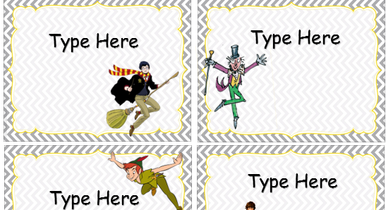 Literary character peg labels.