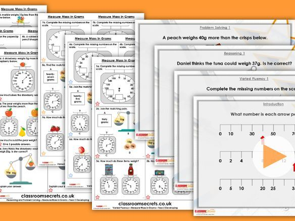 Year 2 Measure Mass in Grams Block 4 Step 2 Maths Lesson Pack