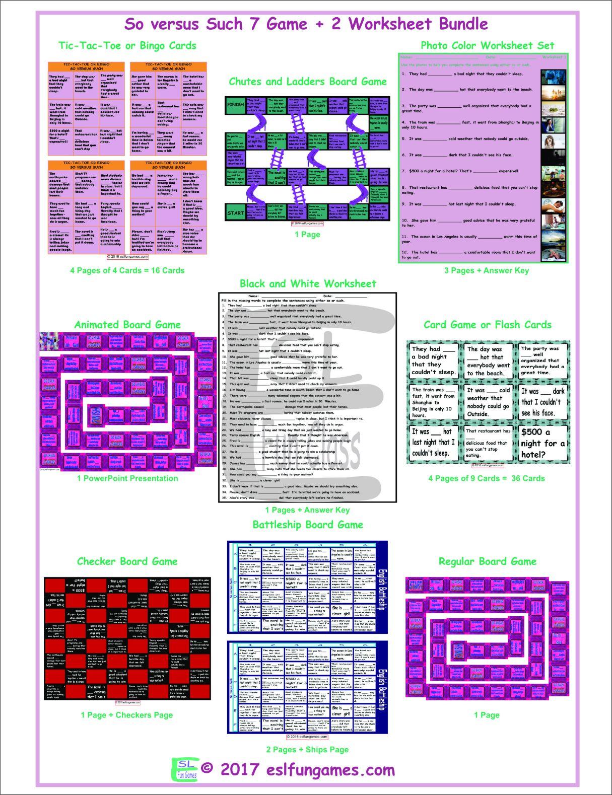 So versus Such 7 Game Plus 2 Worksheet Bundle