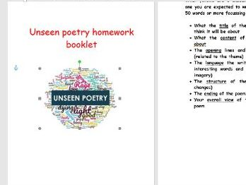 Unseen poetry homework booklet