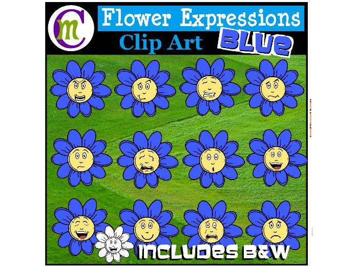 Flower Emotions Clipart | Blue Flowers Clip Art