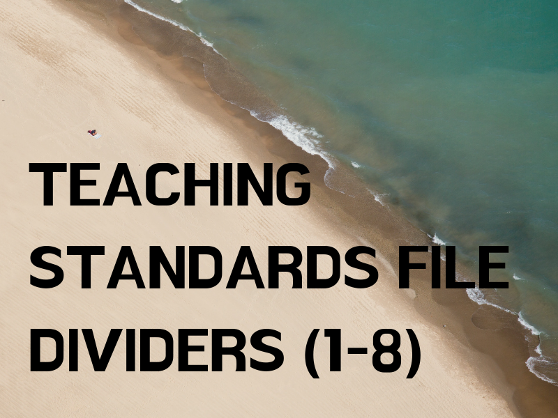 Teaching Standards 1-8 Evidence File Dividers