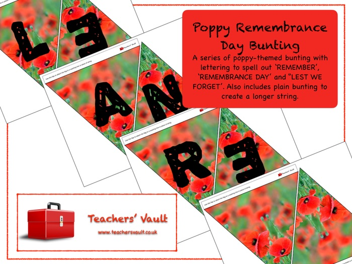 Poppy Remembrance Day Bunting