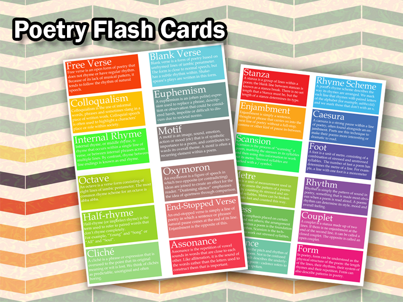KS4 GCSE Poetry Flash Cards (Set of 24)
