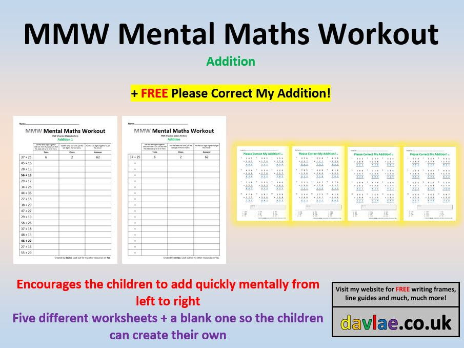 MMW Mental Maths Workout Addition(+ FREE PLEASE CORRECT MY ADDITION!)
