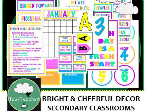 Bright & Cheerful Colours Décor Set for Secondary Classrooms– 110+ Signs Posters Calendars Headings