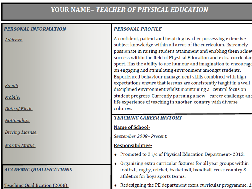 Teacher Curriculum Vitae template