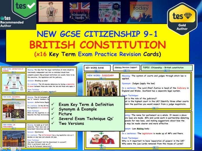GCSE Citizenship Revision: Key term Exam Practice Cards: British Constitution