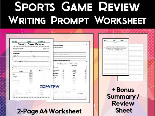 Sports Game Review Worksheet