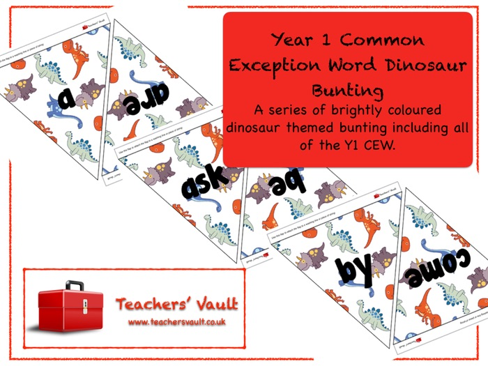 Year 1 Common Exception Word Dinosaur Bunting