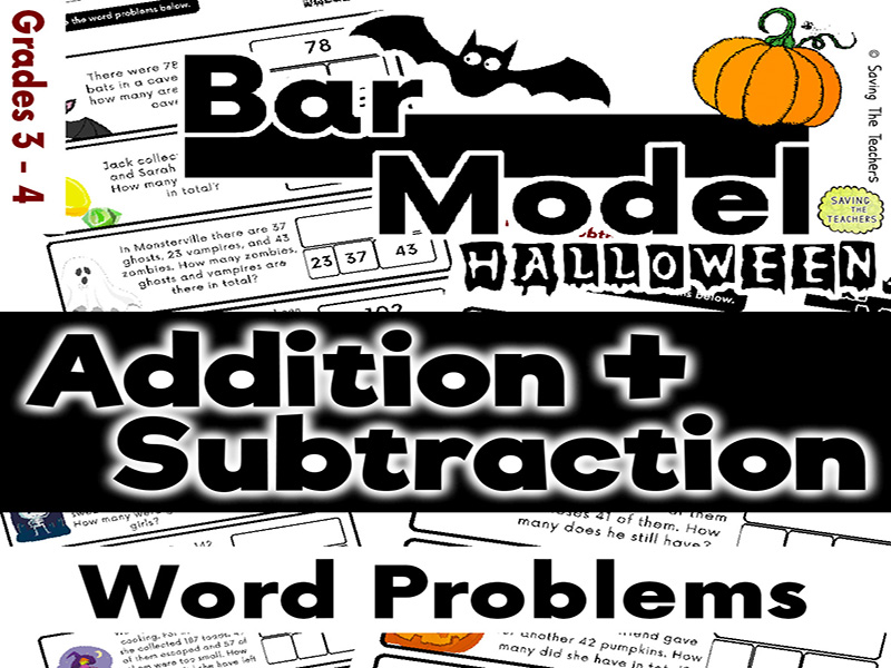 Halloween: Addition and Subtraction Bar Model Word Problems - Years 4 - 5