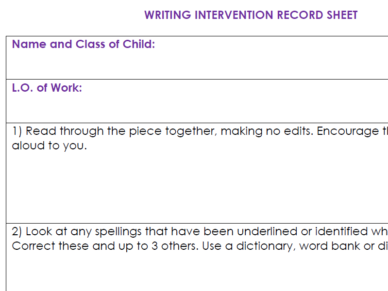 Writing Intervention Kit: Form&Guidance