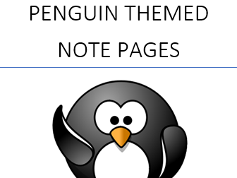 Penguin Themed Spiral Note pages