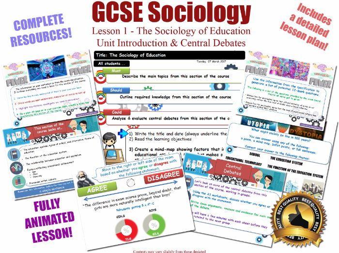 Introduction & Central Debates - The Sociology of Education -  [AQA GCSE Sociology - 8192] KS4 L1/20