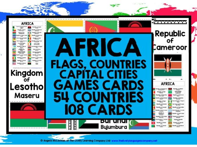 GEOGRAPHY AFRICA COUNTRIES, CAPITAL CITIES & FLAGS GAME CARDS