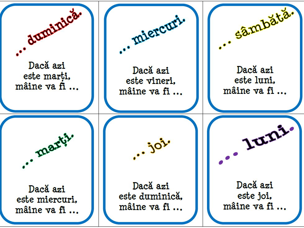 Zilele săptămânii (Ieri, azi, mâine) - Romanian - Card Game Bundle